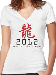 Chinese New Year 2012 Women's Fitted V-Neck T-Shirt