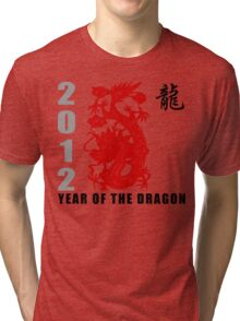 Year of The Dragon 2012 Paper Cut Tri-blend T-Shirt