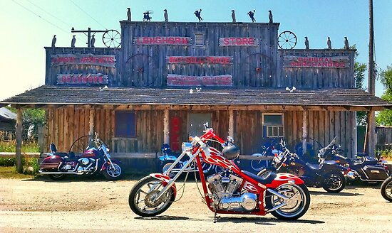 My Chopper in front of General Store in Scenic, SD by David Owens