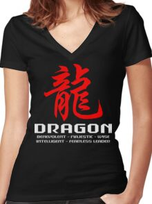 Chinese Zodiac Dragon Characteristics Women's Fitted V-Neck T-Shirt