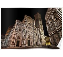 The Duomo by night in Florance Poster