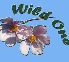 Wild one. Pink wild flowers in blue photo art. by naturematters