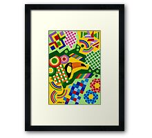 Colors And Shapes With Squars - Toekan - Brush And Gouache Framed Print