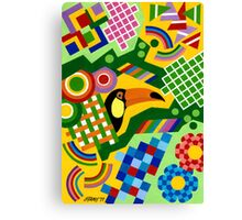 Colors And Shapes With Squars - Toekan - Brush And Gouache Canvas Print