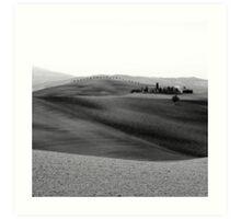 B&W Tuscan Farmhouse, Tuscany, Italy Art Print