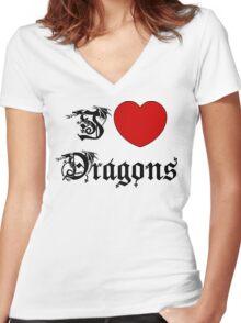 I Love Dragons Women's Fitted V-Neck T-Shirt