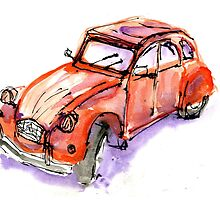 red 2cv by reddogcards