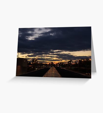 Harlem Blue Line Station Sunset - Chicago Greeting Card