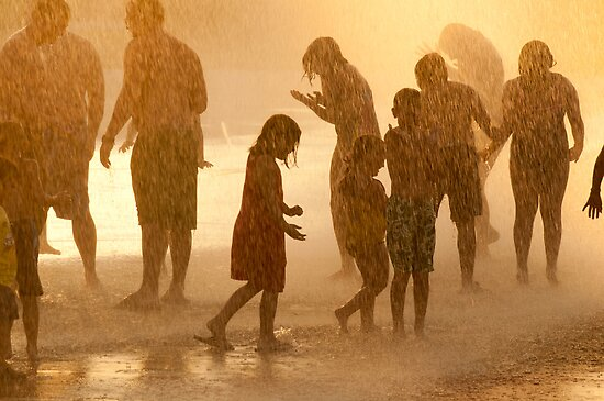 """""""Fountain Falls"""" - people soak themselves in fountain by John Hartung"""