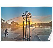 """Sunset Behind Fountain"" Poster"