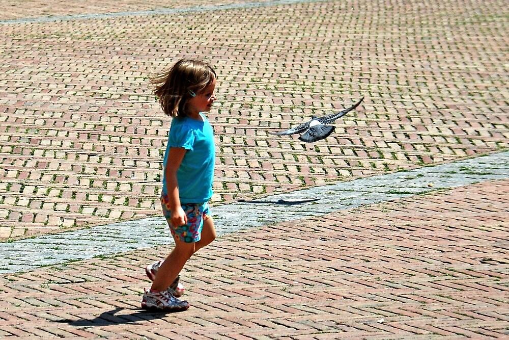 Chasing Pigeon-Siena, Italy by Deborah Downes