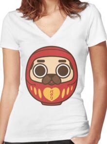 Puglie Daruma Women's Fitted V-Neck T-Shirt