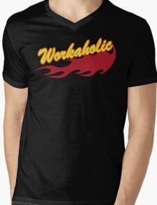 Workaholic Mens V-Neck T-Shirt