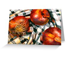 Black and White and Red Onions Greeting Card
