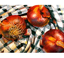 Black and White and Red Onions Photographic Print