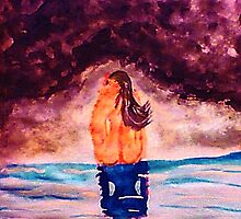 Bathing in the  grotto, watercolor by Anna  Lewis
