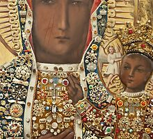 Our Lady of Czestochowa Bejewled Picture - Closeup by blessedartthou