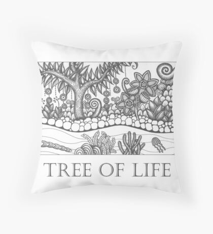 Tree of Life - black and white Throw Pillow
