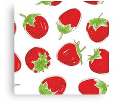 strawberries on white background Canvas Print