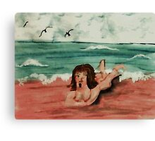 Opps, the water is freezing! watercolor Canvas Print