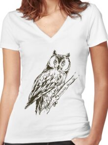 Owl hand drawn Women's Fitted V-Neck T-Shirt