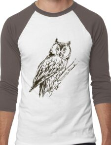 Owl hand drawn Men's Baseball ¾ T-Shirt