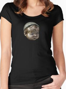 Creepy Doll Head Women's Fitted Scoop T-Shirt
