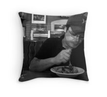 beer and a salad Throw Pillow