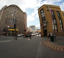 Elizabeth St Mall and corner of Liverpool St, Hobart by Ron Co