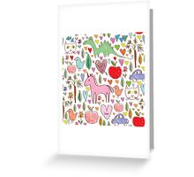 baby sketch pattern with animals and hearts Greeting Card