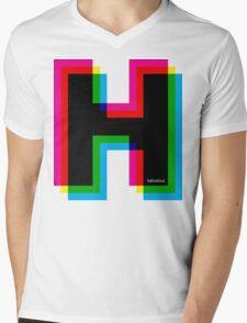 Helvetica H CMYK Mens V-Neck T-Shirt
