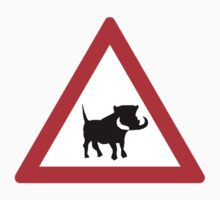 Beware of Warthogs, Traffic Sign, South Africa One Piece - Short Sleeve