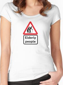 Elderly People, Traffic Sign, UK Women's Fitted Scoop T-Shirt