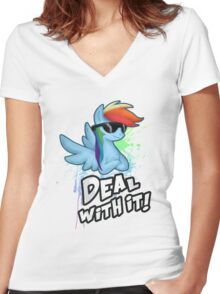 My Little Pony - MLP - Rainbow Dash - Deal With It Women's Fitted V-Neck T-Shirt