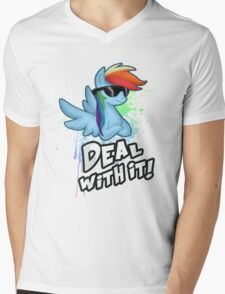 My Little Pony - MLP - Rainbow Dash - Deal With It Mens V-Neck T-Shirt