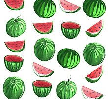 Hand drawn water color seamless pattern of water melons. by TrishaMcmillan