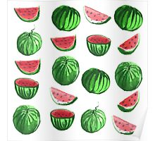 Hand drawn water color seamless pattern of water melons. Poster
