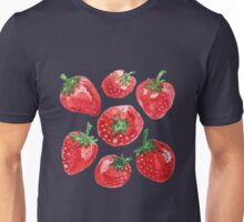 Hand drawn water color painting strawberries. Unisex T-Shirt