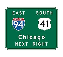 Chicago, IL Road Sign Photographic Print