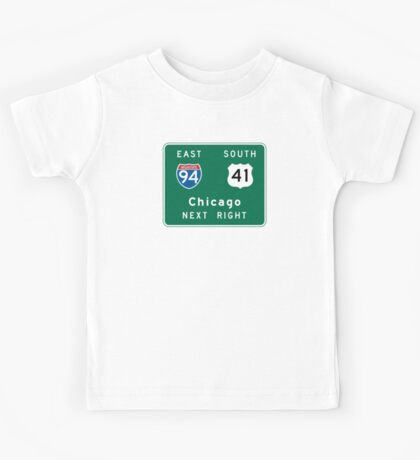 Chicago, IL Road Sign Kids Tee