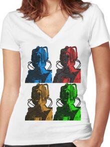 Old Skool Cybermen Women's Fitted V-Neck T-Shirt