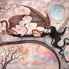 &quot;Winds of Autumn&quot; Fairy and Dragon  by Molly  Harrison