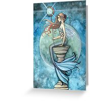 """Jade Moon"" Mermaid Art by Molly Harrison Greeting Card"