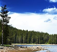 lake and deep blue sky by plamenx