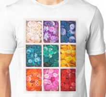 multicolor buttons  for handicrafts in box isolated on white Unisex T-Shirt