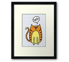 cat saying hello Framed Print