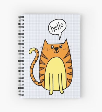 cat saying hello Spiral Notebook