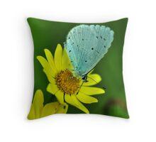 Blue on Yellow Throw Pillow