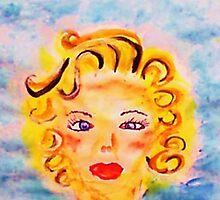 Portrait #4 blonde. watercolor by Anna  Lewis
