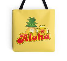 Aloha with cute tropical pineapple and hibiscus flower Tote Bag